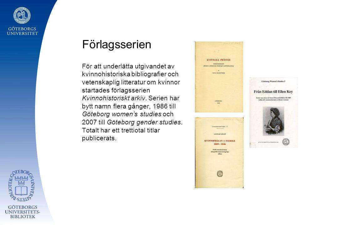 Förlagsserien För att underlätta utgivandet av kvinnohistoriska bibliografier och vetenskaplig litteratur om kvinnor startades förlagsserien Kvinnohistoriskt arkiv.