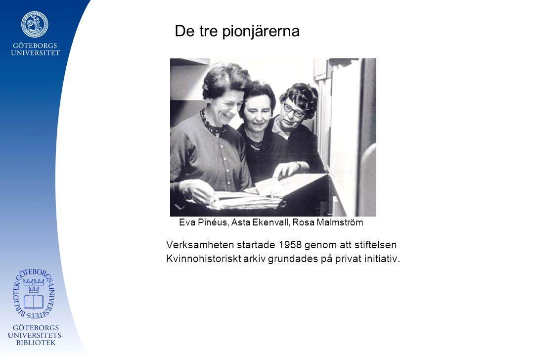 De tre pionjärerna Eva Pinéus, Asta Ekenvall, Rosa Malmström Verksamheten startade 1958 genom att stiftelsen Kvinnohistoriskt arkiv grundades på privat initiativ.