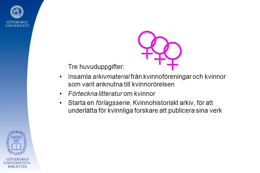 Tre huvuduppgifter: Insamla arkivmaterial från kvinnoföreningar och kvinnor som varit anknutna till kvinnorörelsen Förteckna litteratur om kvinnor Starta en förlagsserie, Kvinnohistoriskt arkiv, för att underlätta för kvinnliga forskare att publicera sina verk