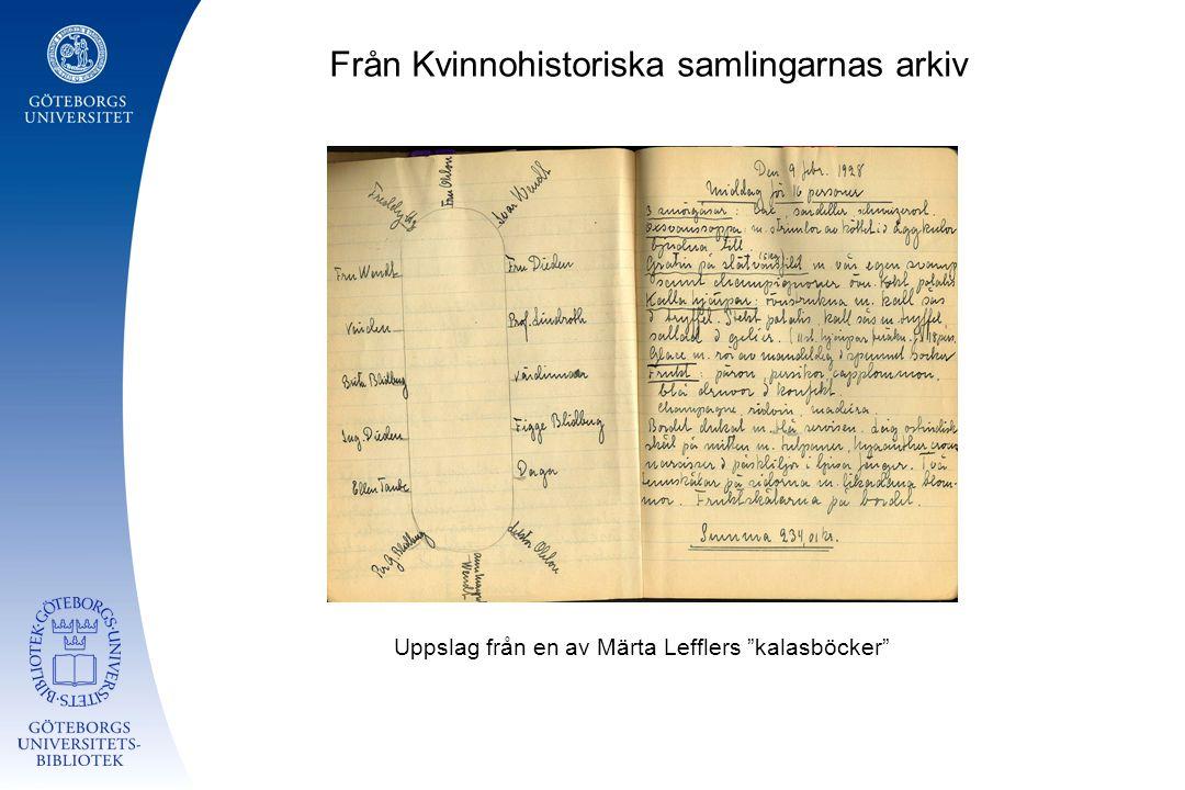 """Från Kvinnohistoriska samlingarnas arkiv Uppslag från en av Märta Lefflers """"kalasböcker"""""""