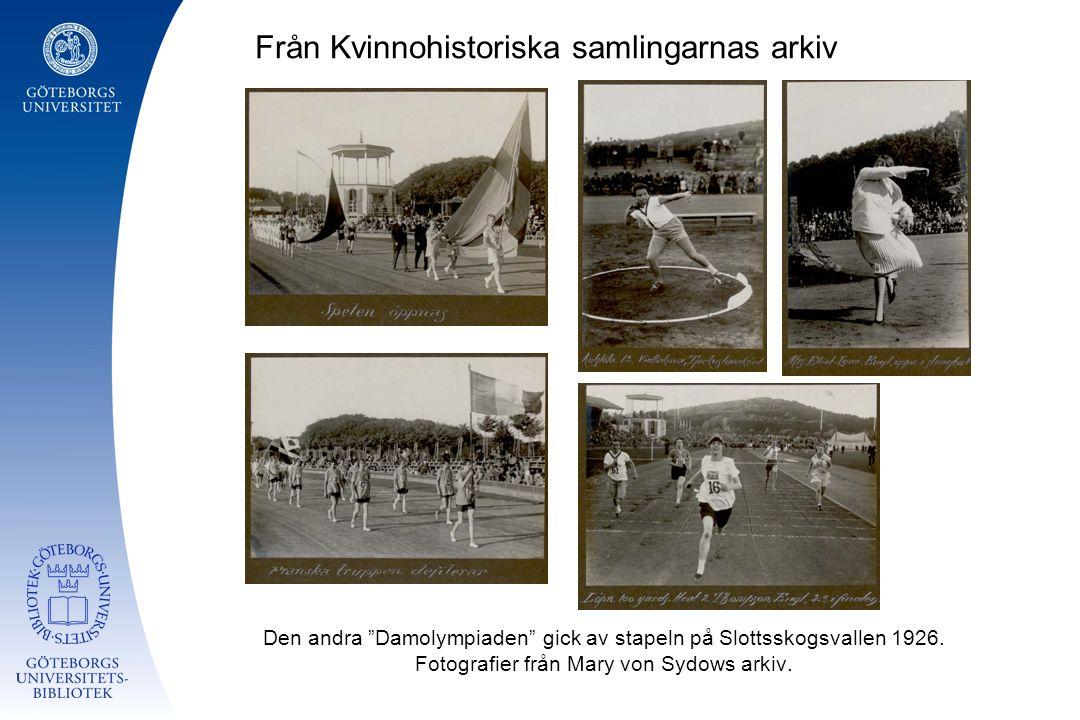 """Från Kvinnohistoriska samlingarnas arkiv Den andra """"Damolympiaden"""" gick av stapeln på Slottsskogsvallen 1926. Fotografier från Mary von Sydows arkiv."""