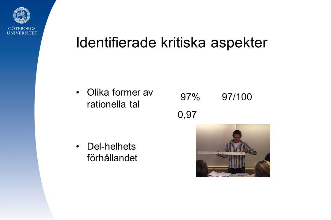 Identifierade kritiska aspekter Olika former av rationella tal Del-helhets förhållandet 97% 97/100 0,97
