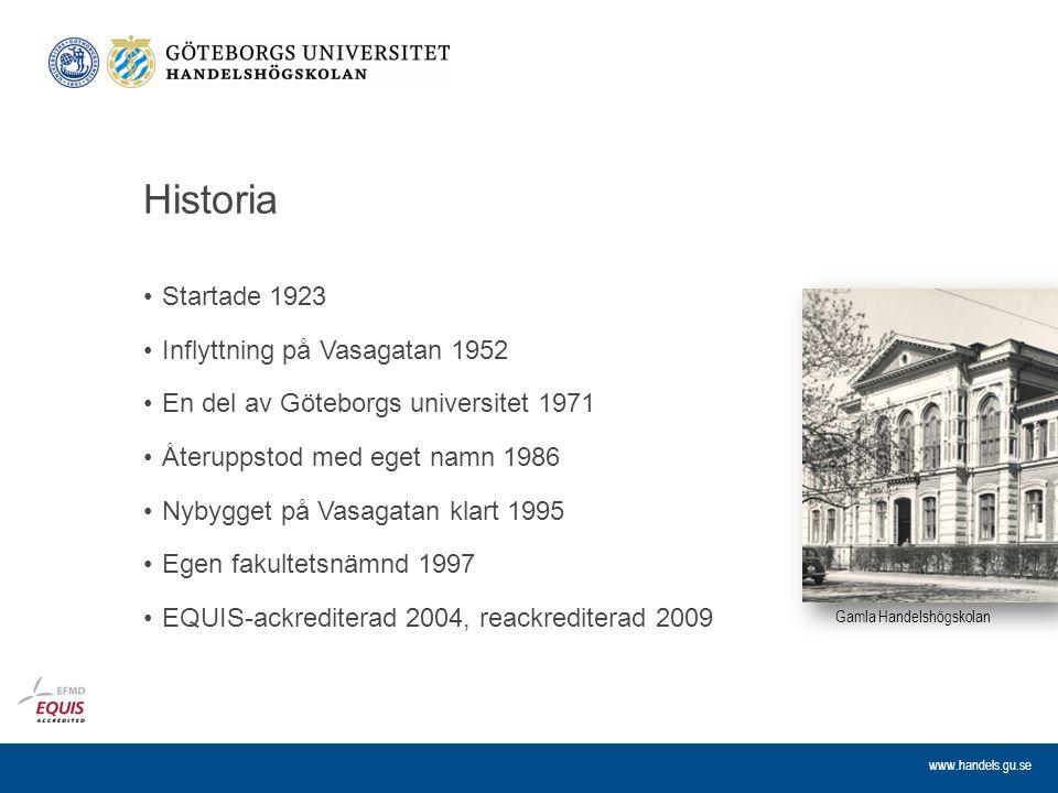 www.handels.gu.se Historia Startade 1923 Inflyttning på Vasagatan 1952 En del av Göteborgs universitet 1971 Återuppstod med eget namn 1986 Nybygget på
