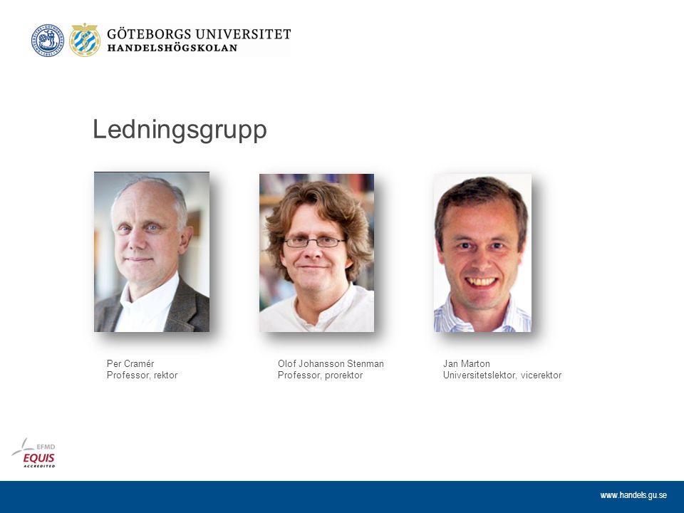 www.handels.gu.se Ledningsgrupp Olof Johansson Stenman Professor, prorektor Per Cramér Professor, rektor Jan Marton Universitetslektor, vicerektor