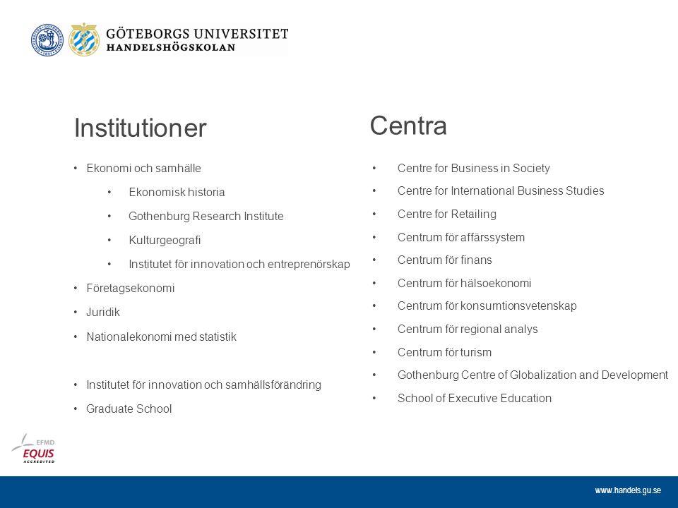 www.handels.gu.se Institutioner Ekonomi och samhälle Ekonomisk historia Gothenburg Research Institute Kulturgeografi Institutet för innovation och ent