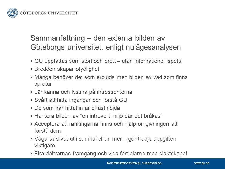 www.gu.se Sammanfattning – den externa bilden av Göteborgs universitet, enligt nulägesanalysen GU uppfattas som stort och brett – utan internationell spets Bredden skapar otydlighet Många behöver det som erbjuds men bilden av vad som finns spretar Lär känna och lyssna på intressenterna Svårt att hitta ingångar och förstå GU De som har hittat in är oftast nöjda Hantera bilden av en introvert miljö där det bråkas Acceptera att rankingarna finns och hjälp omgivningen att förstå dem Våga ta klivet ut i samhället än mer – gör tredje uppgiften viktigare Fira döttrarnas framgång och visa fördelarna med släktskapet Kommunikationsstrategi, nulägesanalys