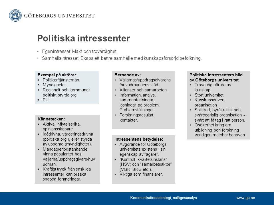 www.gu.se Politiska intressenter Egenintresset: Makt och trovärdighet.