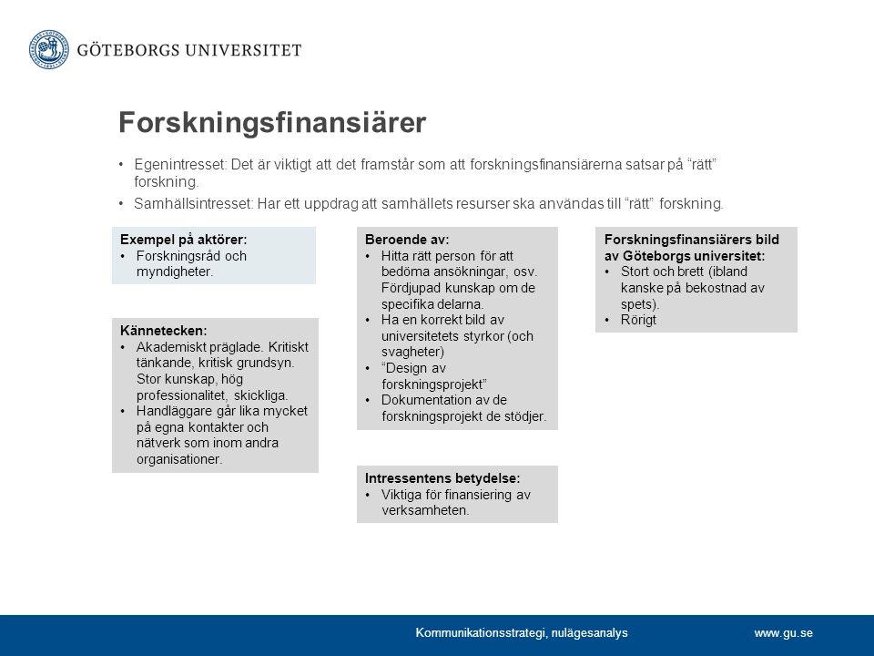 www.gu.se Forskningsfinansiärer Egenintresset: Det är viktigt att det framstår som att forskningsfinansiärerna satsar på rätt forskning.