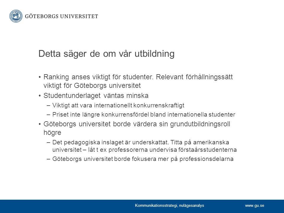 www.gu.se Detta säger de om vår utbildning Ranking anses viktigt för studenter.