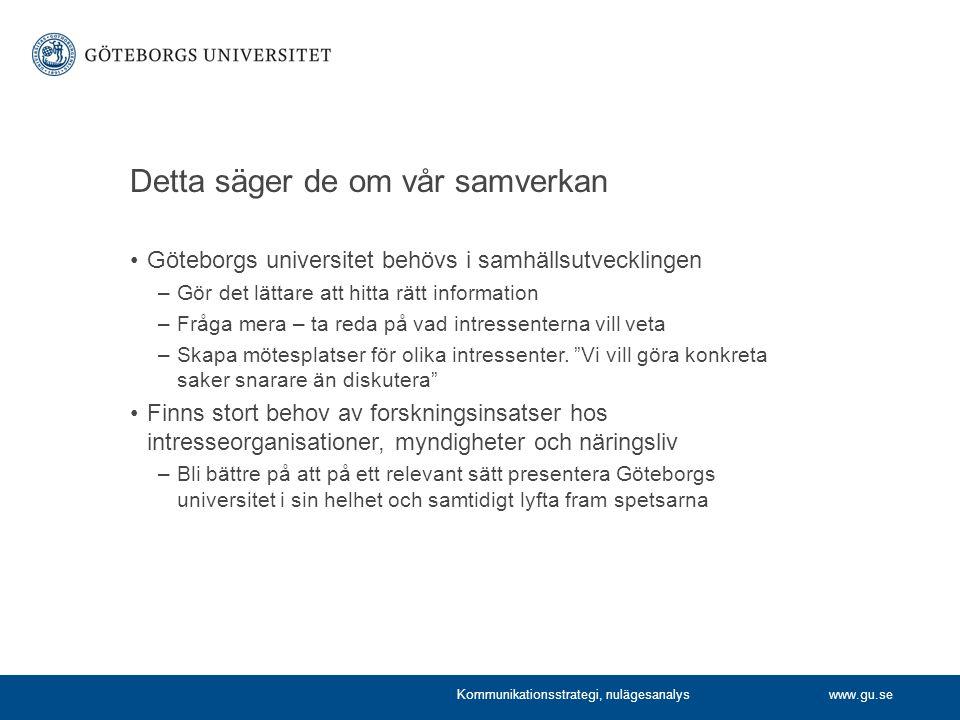 www.gu.se Detta säger de om vår samverkan Göteborgs universitet behövs i samhällsutvecklingen –Gör det lättare att hitta rätt information –Fråga mera – ta reda på vad intressenterna vill veta –Skapa mötesplatser för olika intressenter.