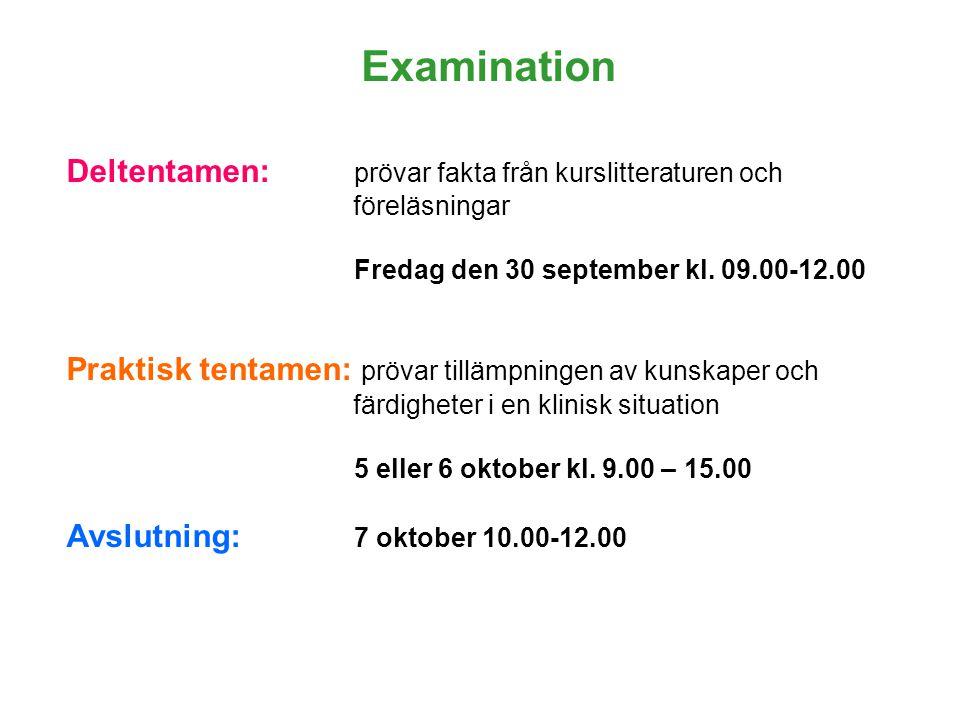 Deltentamen: prövar fakta från kurslitteraturen och föreläsningar Fredag den 30 september kl. 09.00-12.00 Praktisk tentamen: prövar tillämpningen av k