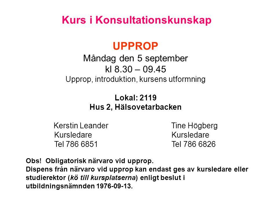 Kurs i Konsultationskunskap UPPROP Måndag den 5 september kl 8.30 – 09.45 Upprop, introduktion, kursens utformning Lokal: 2119 Hus 2, Hälsovetarbacken