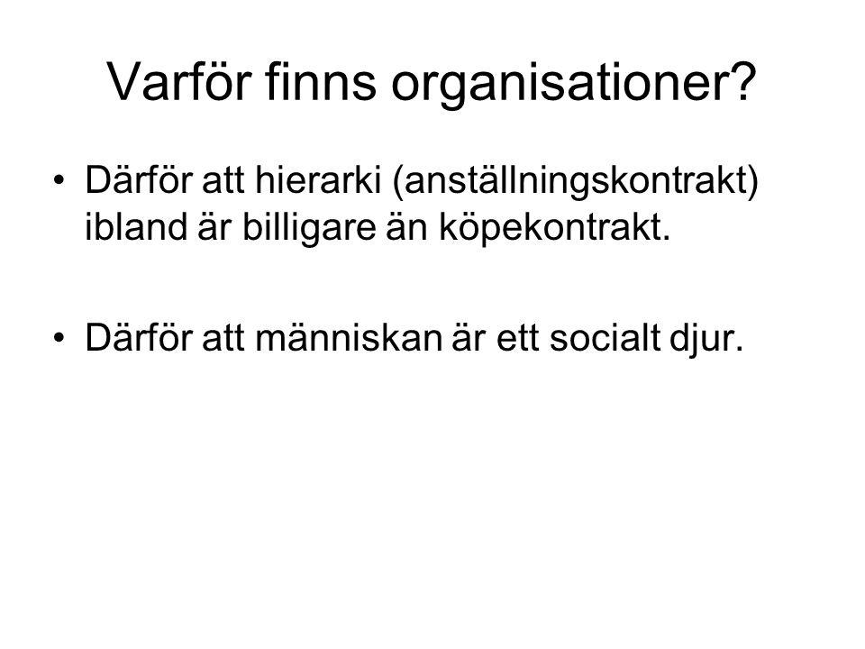 Varför finns organisationer? Därför att hierarki (anställningskontrakt) ibland är billigare än köpekontrakt. Därför att människan är ett socialt djur.