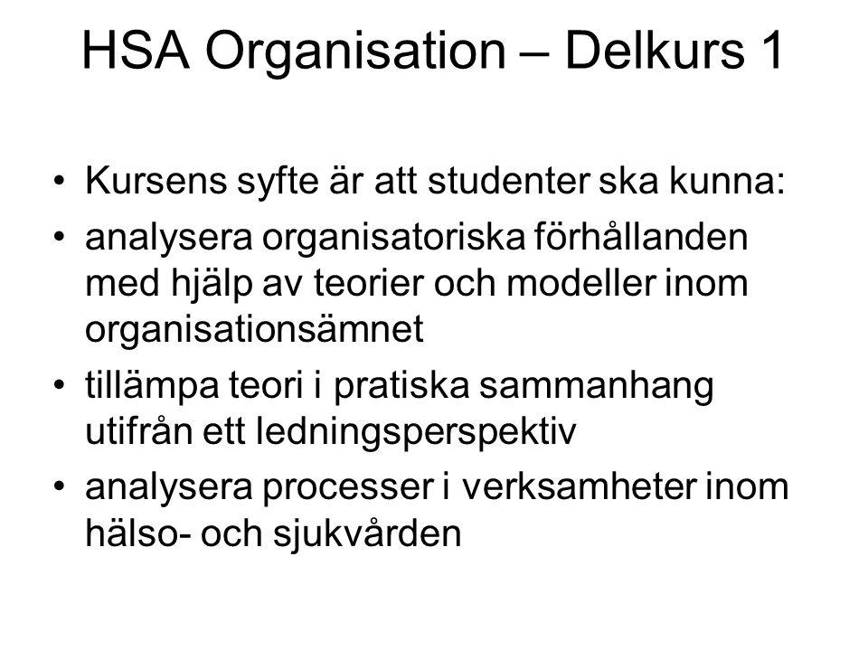 Organisationsmomentets innehåll: 1.Introduktion 2.Centrala bidrag och skolbildningar inom organisationsteorin 3.Organisationens uppgifter och struktur 4.Organisationens styrning 5.Organisationens resurser - mångfald 6.Organisationens resurser – ledare och medarbetare 7.Organisationens processer 8.Hälso- och sjukvårdens speciella organiseringsproblem