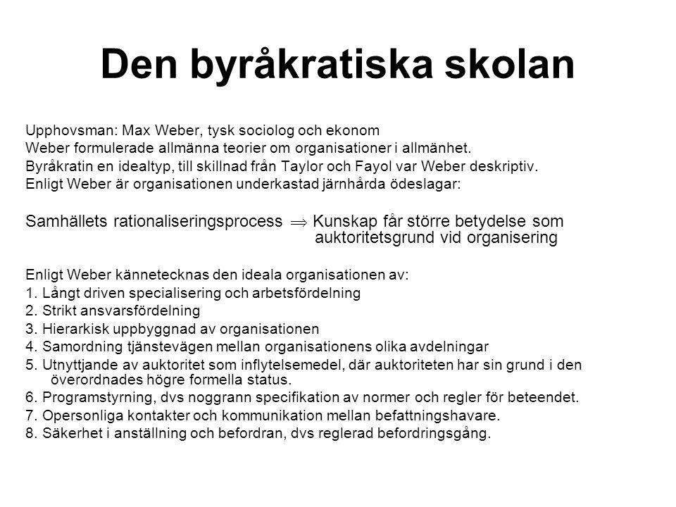 Den byråkratiska skolan Upphovsman: Max Weber, tysk sociolog och ekonom Weber formulerade allmänna teorier om organisationer i allmänhet. Byråkratin e