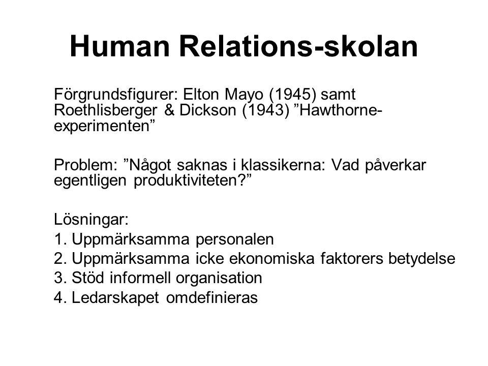 "Human Relations-skolan Förgrundsfigurer: Elton Mayo (1945) samt Roethlisberger & Dickson (1943) ""Hawthorne- experimenten"" Problem: ""Något saknas i kla"