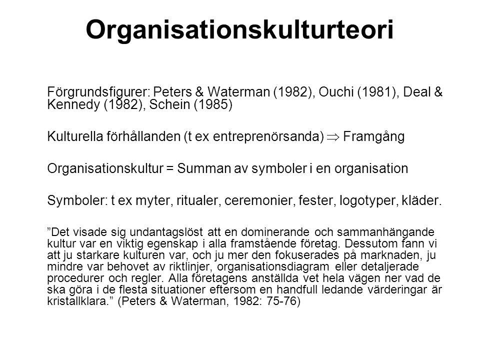Organisationskulturteori Förgrundsfigurer: Peters & Waterman (1982), Ouchi (1981), Deal & Kennedy (1982), Schein (1985) Kulturella förhållanden (t ex