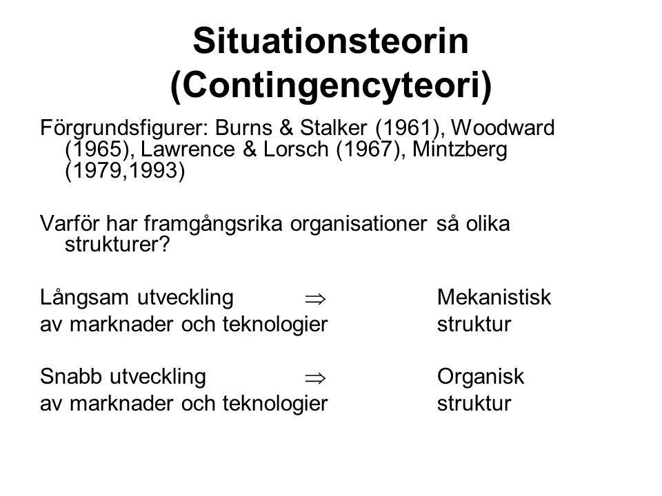 Situationsteorin (Contingencyteori) Förgrundsfigurer: Burns & Stalker (1961), Woodward (1965), Lawrence & Lorsch (1967), Mintzberg (1979,1993) Varför