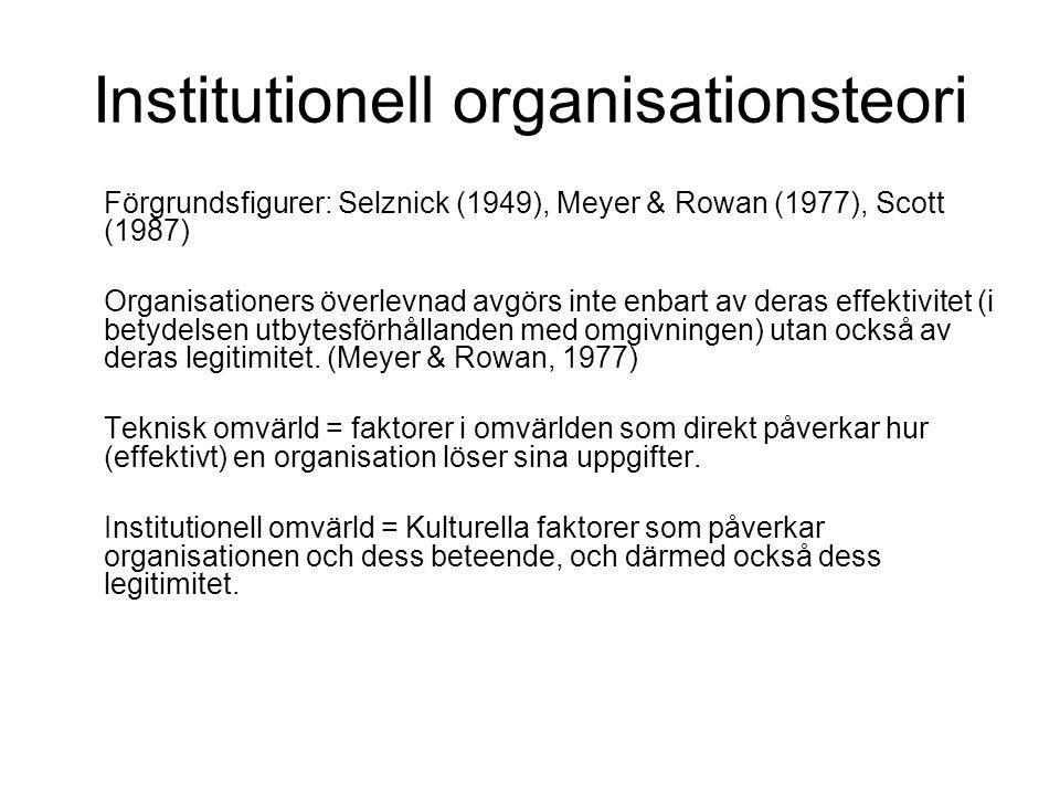 Institutionell organisationsteori Förgrundsfigurer: Selznick (1949), Meyer & Rowan (1977), Scott (1987) Organisationers överlevnad avgörs inte enbart