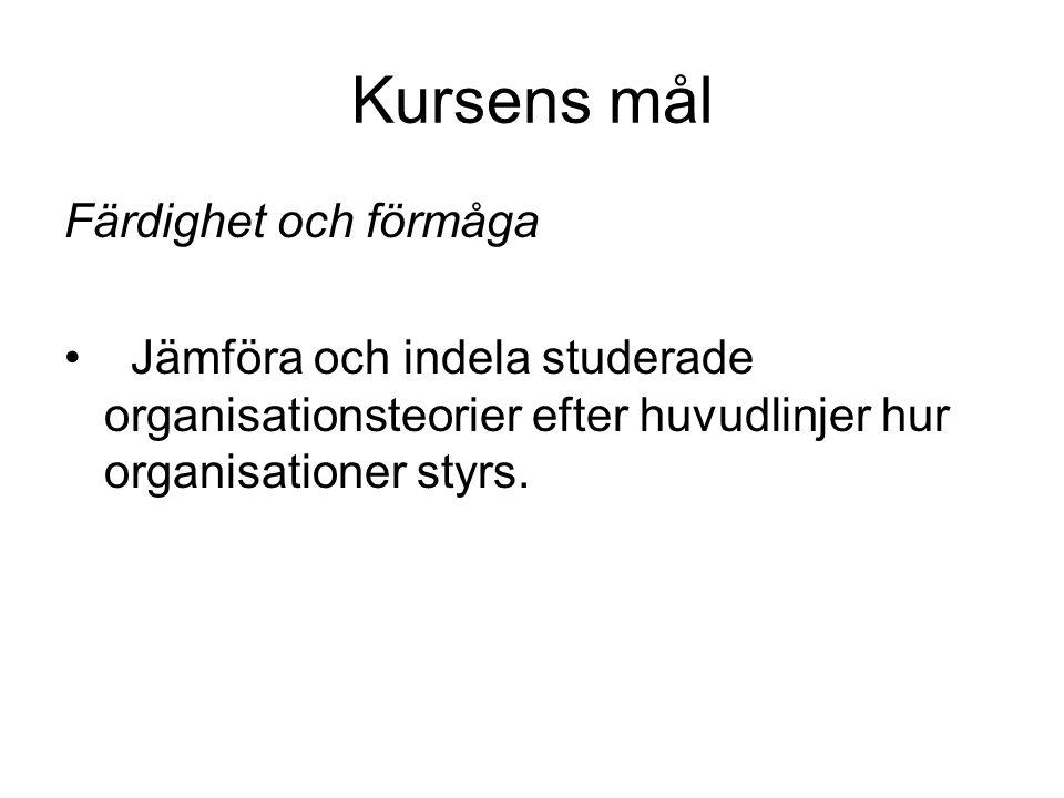 Kursens mål Färdighet och förmåga Jämföra och indela studerade organisationsteorier efter huvudlinjer hur organisationer styrs.