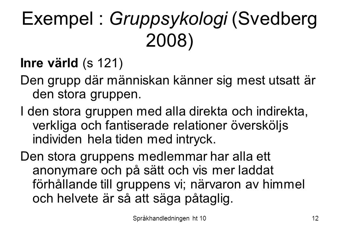 Språkhandledningen ht 1012 Exempel : Gruppsykologi (Svedberg 2008) Inre värld (s 121) Den grupp där människan känner sig mest utsatt är den stora grup
