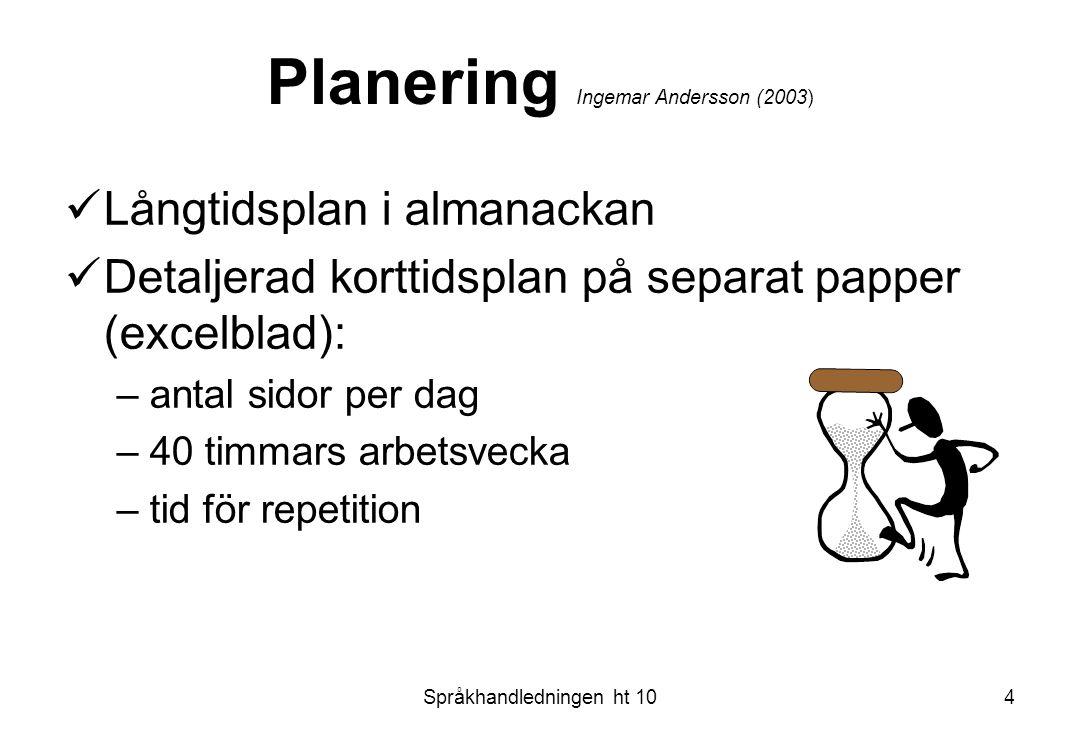 Språkhandledningen ht 104 Planering Ingemar Andersson (2003) Långtidsplan i almanackan Detaljerad korttidsplan på separat papper (excelblad): –antal s