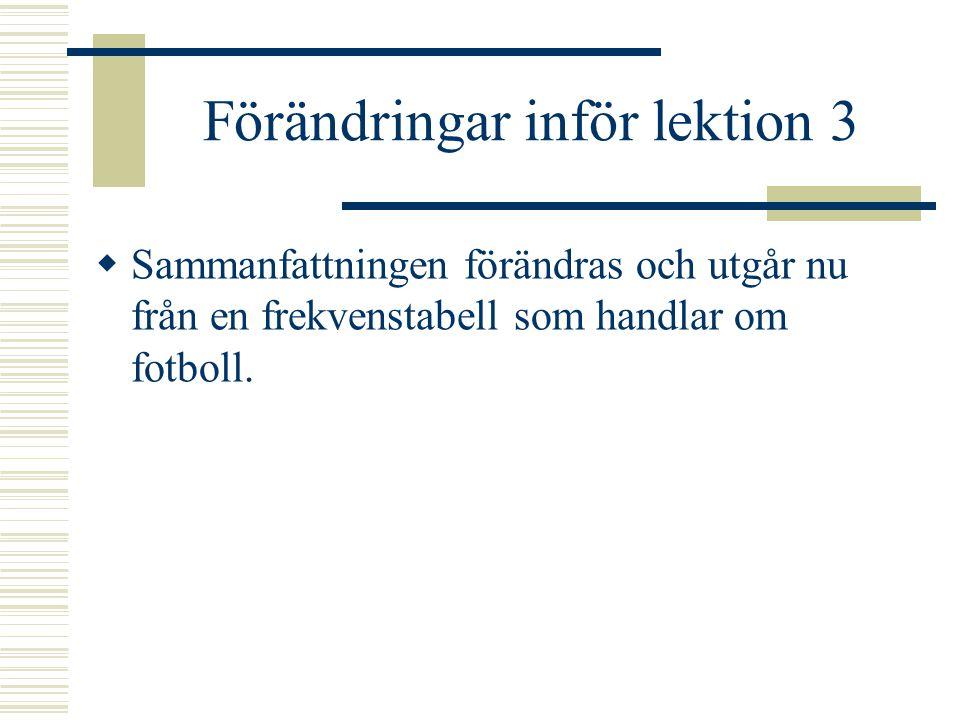 Förändringar inför lektion 3  Sammanfattningen förändras och utgår nu från en frekvenstabell som handlar om fotboll.