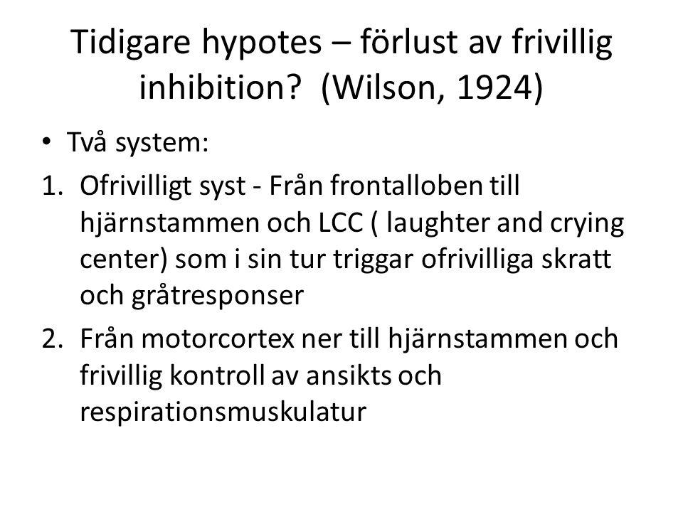 Tidigare hypotes – förlust av frivillig inhibition? (Wilson, 1924) Två system: 1.Ofrivilligt syst - Från frontalloben till hjärnstammen och LCC ( laug