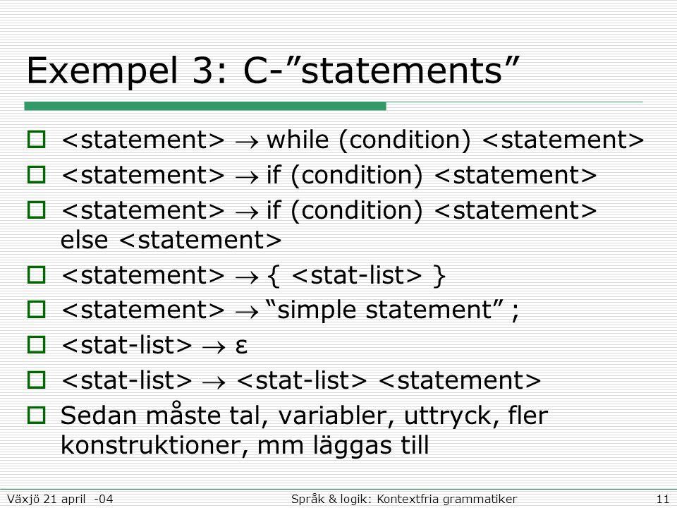 11Språk & logik: Kontextfria grammatikerVäxjö 21 april -04 Exempel 3: C- statements   while (condition)   if (condition)   if (condition) else   { }   simple statement ;   ε    Sedan måste tal, variabler, uttryck, fler konstruktioner, mm läggas till