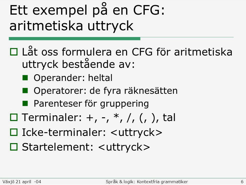 6Språk & logik: Kontextfria grammatikerVäxjö 21 april -04 Ett exempel på en CFG: aritmetiska uttryck  Låt oss formulera en CFG för aritmetiska uttryck bestående av: Operander: heltal Operatorer: de fyra räknesätten Parenteser för gruppering  Terminaler: +, -, *, /, (, ), tal  Icke-terminaler:  Startelement: