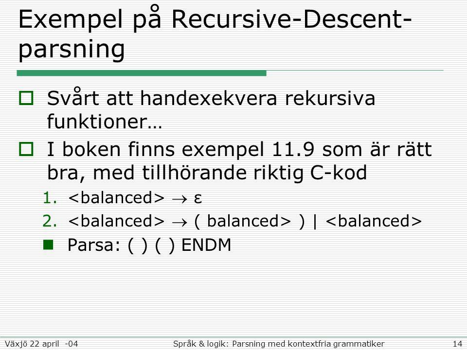 14Språk & logik: Parsning med kontextfria grammatikerVäxjö 22 april -04 Exempel på Recursive-Descent- parsning  Svårt att handexekvera rekursiva funktioner…  I boken finns exempel 11.9 som är rätt bra, med tillhörande riktig C-kod 1.
