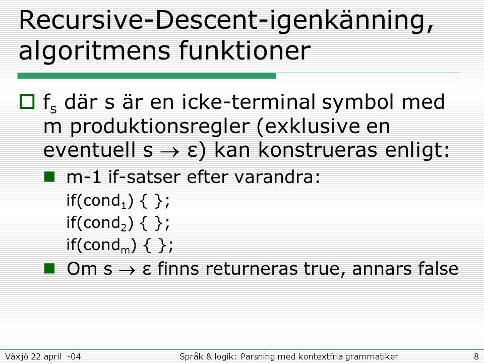 19Språk & logik: Parsning med kontextfria grammatikerVäxjö 22 april -04 Reguljära uttryck (RE) vs.