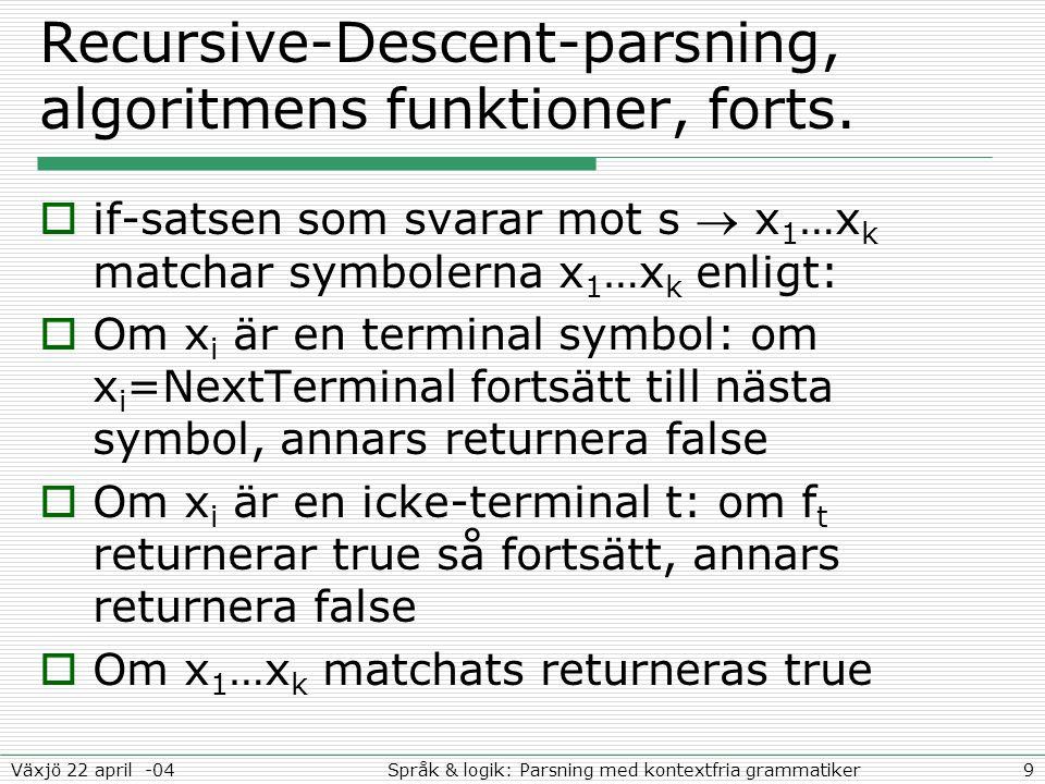 10Språk & logik: Parsning med kontextfria grammatikerVäxjö 22 april -04 Funktionen för faktor - projektionen  Pseudokoden svarande mot:  ( ) | Boolean function factor(void) { if(*NextTerminal=='(')) { NextTerminal++; if(expr()) { return *NextTerminal==')'; } else return false; } if(num()) return true; return false; }