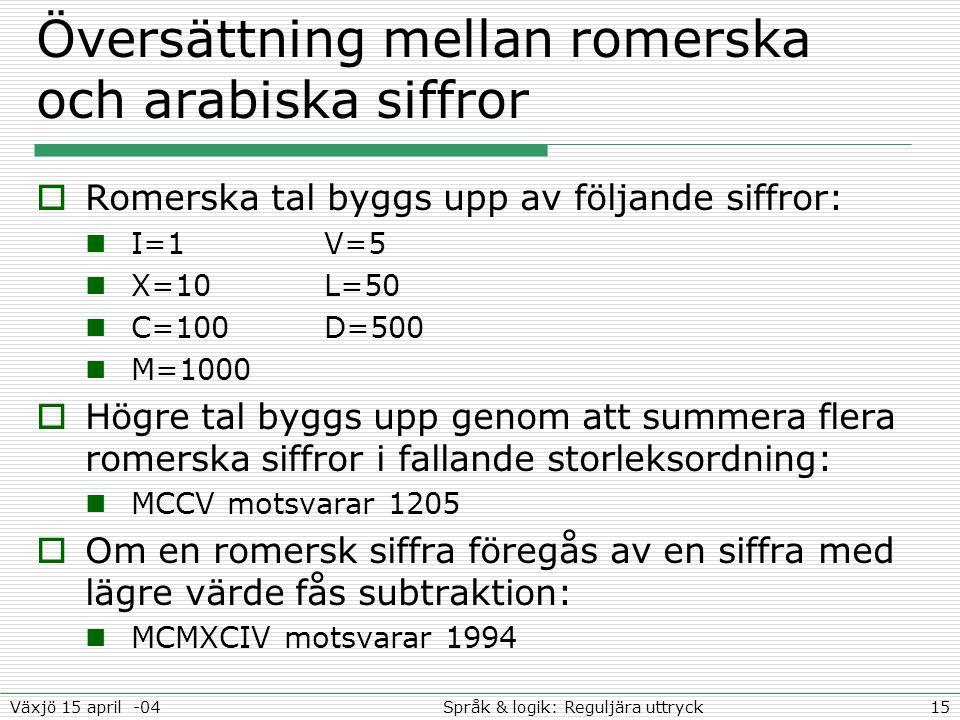 15Språk & logik: Reguljära uttryckVäxjö 15 april -04 Översättning mellan romerska och arabiska siffror  Romerska tal byggs upp av följande siffror: I