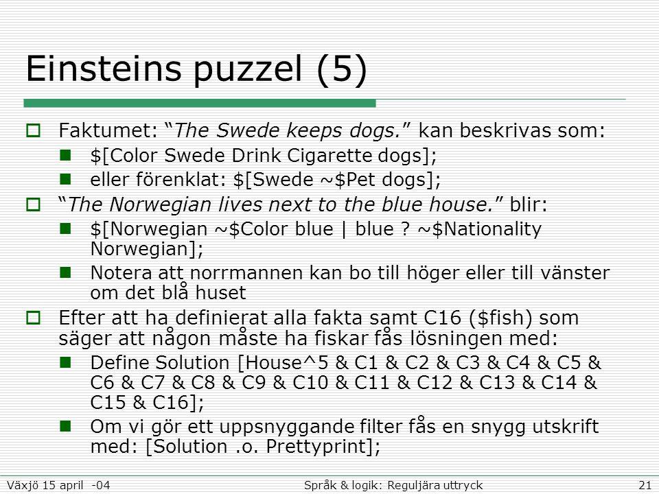 """21Språk & logik: Reguljära uttryckVäxjö 15 april -04 Einsteins puzzel (5)  Faktumet: """"The Swede keeps dogs."""" kan beskrivas som: $[Color Swede Drink C"""