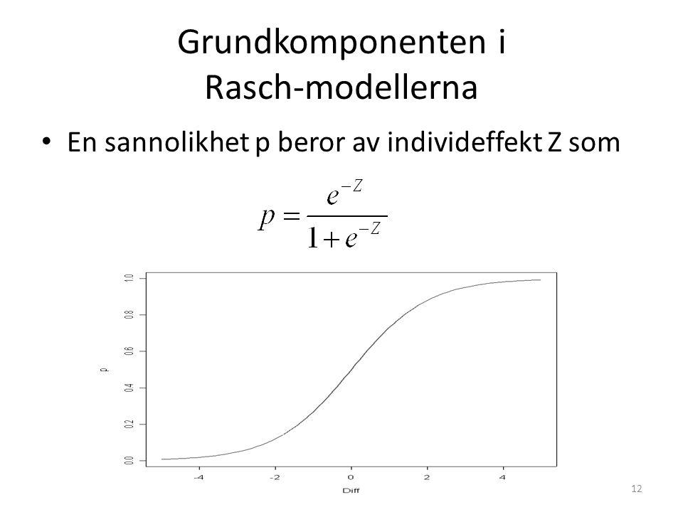 Grundkomponenten i Rasch-modellerna En sannolikhet p beror av individeffekt Z som 12