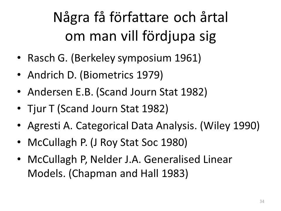 Några få författare och årtal om man vill fördjupa sig Rasch G. (Berkeley symposium 1961) Andrich D. (Biometrics 1979) Andersen E.B. (Scand Journ Stat