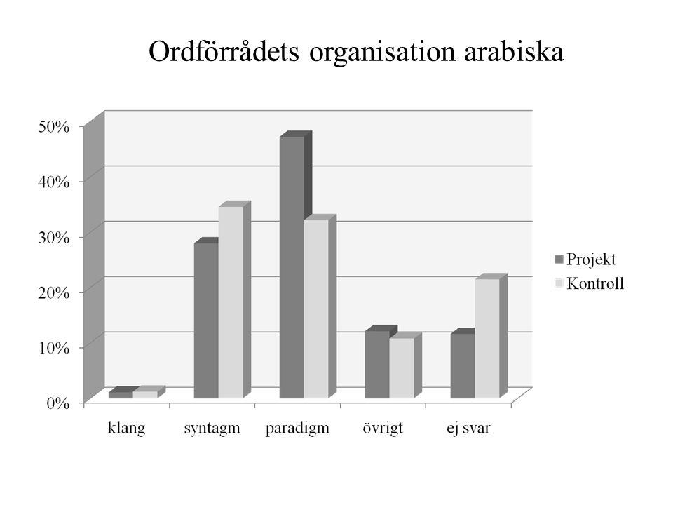 Ordförrådets organisation arabiska