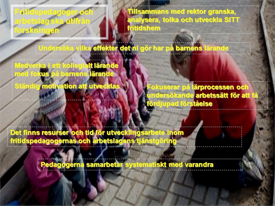 Fritidspedagoger och arbetslag ska utifrån forskningen Medverka i ett kollegialt lärande med fokus på barnens lärande Ständig motivation att utvecklas Tillsammans med rektor granska, analysera, tolka och utveckla SITT fritidshem Fokuserar på lärprocessen och undersökande arbetssätt för att få fördjupad förståelse Pedagogerna samarbetar systematiskt med varandra Undersöka vilka effekter det ni gör har på barnens lärande Det finns resurser och tid för utvecklingsarbete inom fritidspedagogernas och arbetslagens tjänstgöring