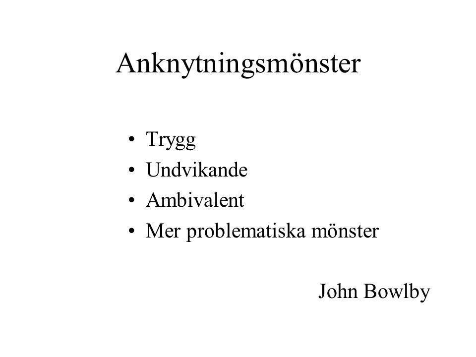 Anknytningsmönster Trygg Undvikande Ambivalent Mer problematiska mönster John Bowlby