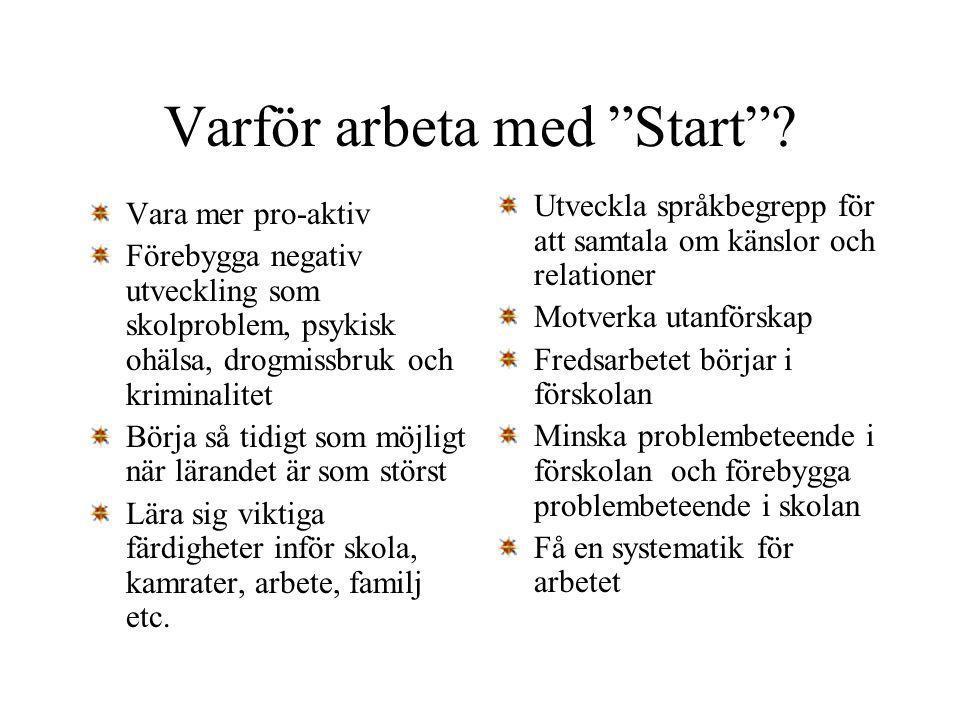 """Varför arbeta med """"Start""""? Vara mer pro-aktiv Förebygga negativ utveckling som skolproblem, psykisk ohälsa, drogmissbruk och kriminalitet Börja så tid"""
