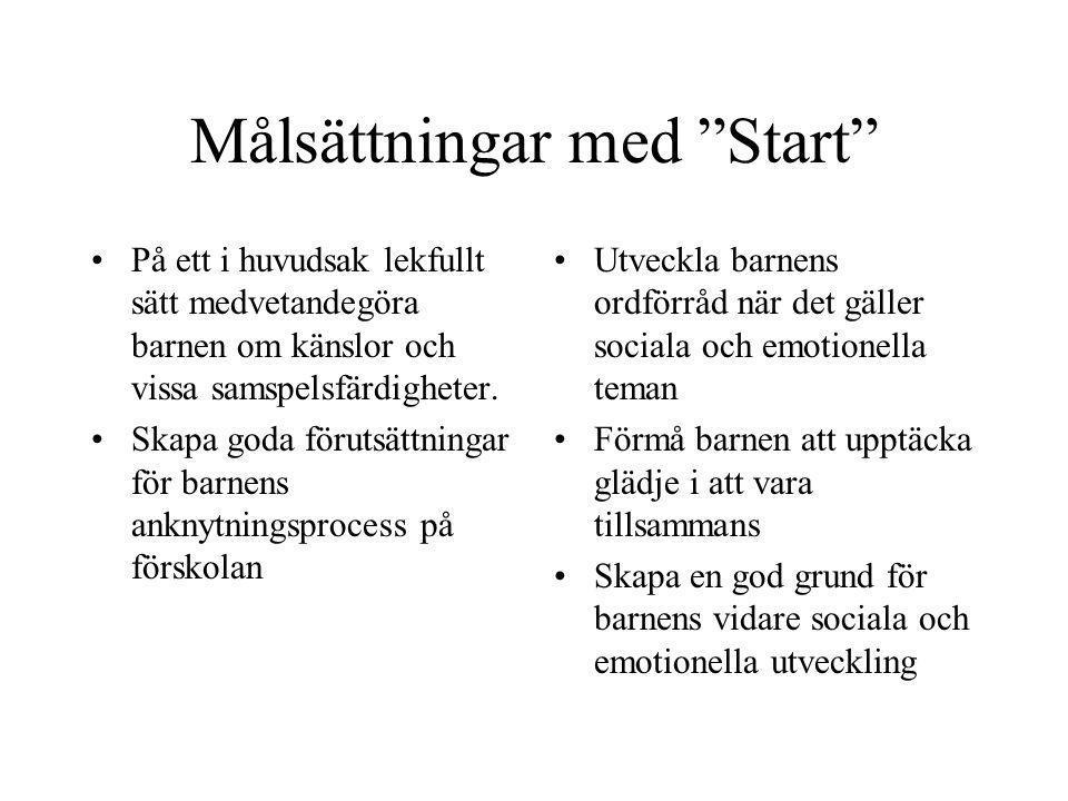 """Målsättningar med """"Start"""" På ett i huvudsak lekfullt sätt medvetandegöra barnen om känslor och vissa samspelsfärdigheter. Skapa goda förutsättningar f"""