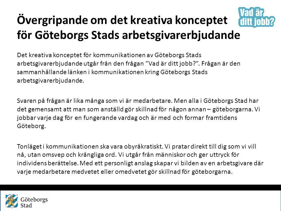 Övergripande om det kreativa konceptet för Göteborgs Stads arbetsgivarerbjudande Det kreativa konceptet för kommunikationen av Göteborgs Stads arbetsg