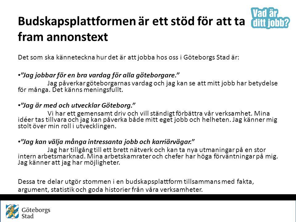 """Budskapsplattformen är ett stöd för att ta fram annonstext Det som ska känneteckna hur det är att jobba hos oss i Göteborgs Stad är: """"Jag jobbar för e"""