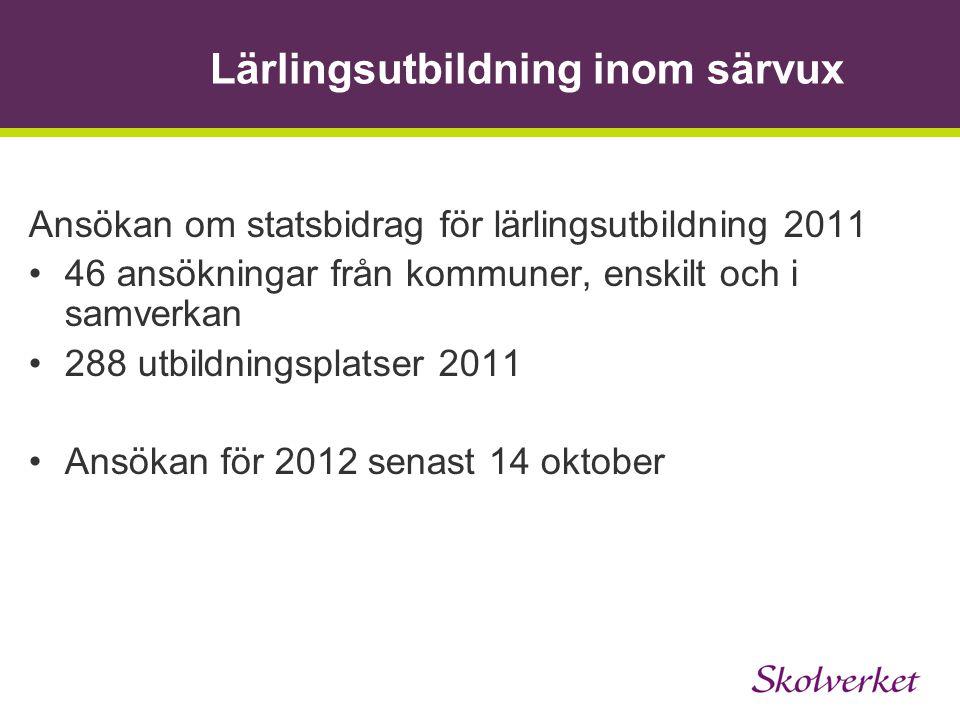 Lärlingsutbildning inom särvux Ansökan om statsbidrag för lärlingsutbildning 2011 46 ansökningar från kommuner, enskilt och i samverkan 288 utbildning