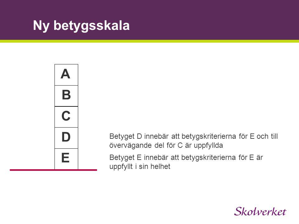 Ny betygsskala A B C E D Betyget D innebär att betygskriterierna för E och till övervägande del för C är uppfyllda Betyget E innebär att betygskriteri