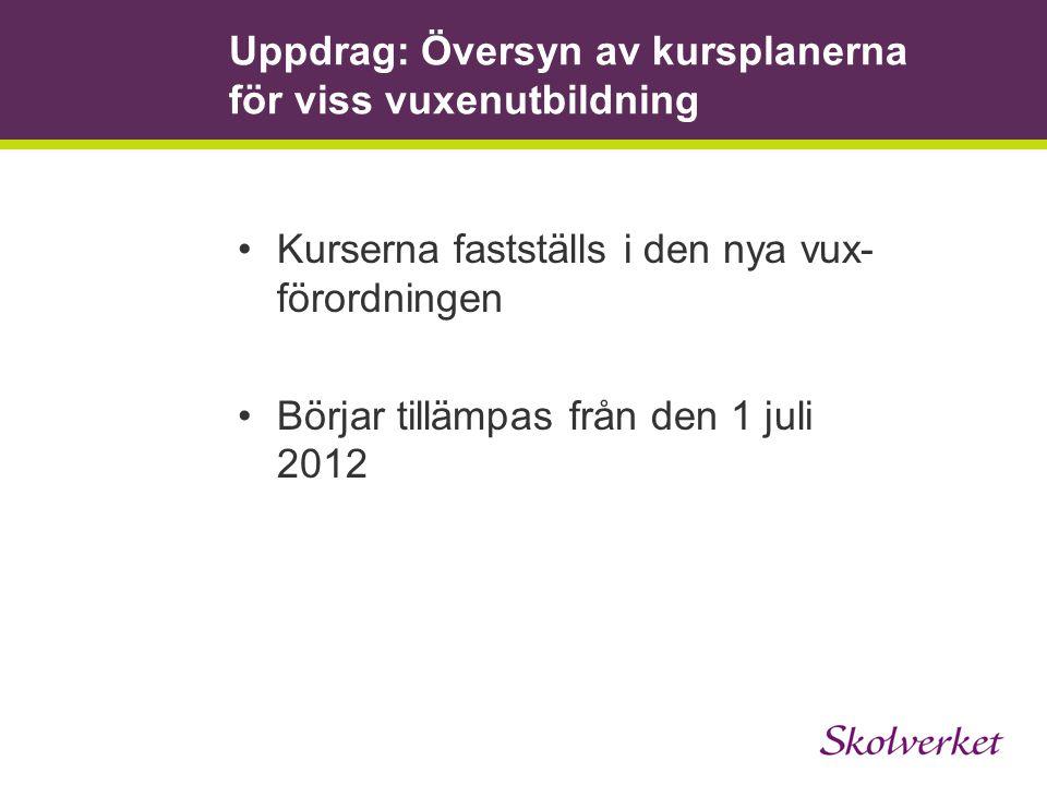 Uppdrag: Översyn av kursplanerna för viss vuxenutbildning Kurserna fastställs i den nya vux- förordningen Börjar tillämpas från den 1 juli 2012