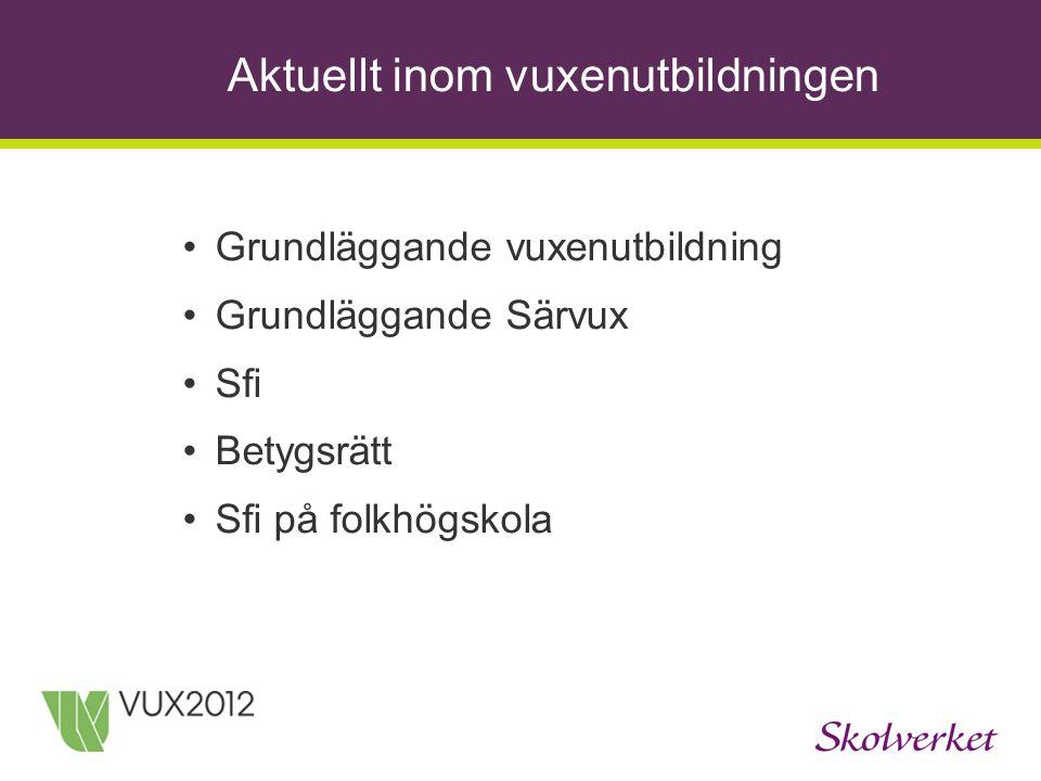 Aktuellt inom vuxenutbildningen Grundläggande vuxenutbildning Grundläggande Särvux Sfi Betygsrätt Sfi på folkhögskola