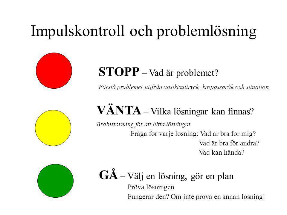 Impulskontroll och problemlösning STOPP – Vad är problemet? Förstå problemet utifrån ansiktsuttryck, kroppsspråk och situation VÄNTA – Vilka lösningar