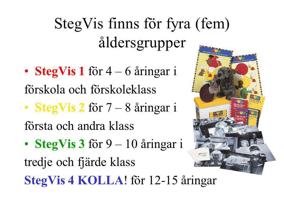 StegVis finns för fyra (fem) åldersgrupper StegVis 1 för 4 – 6 åringar i förskola och förskoleklass StegVis 2 för 7 – 8 åringar i första och andra kla